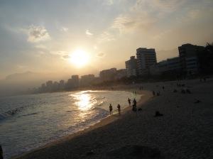 Sunset over Ipanema beach.
