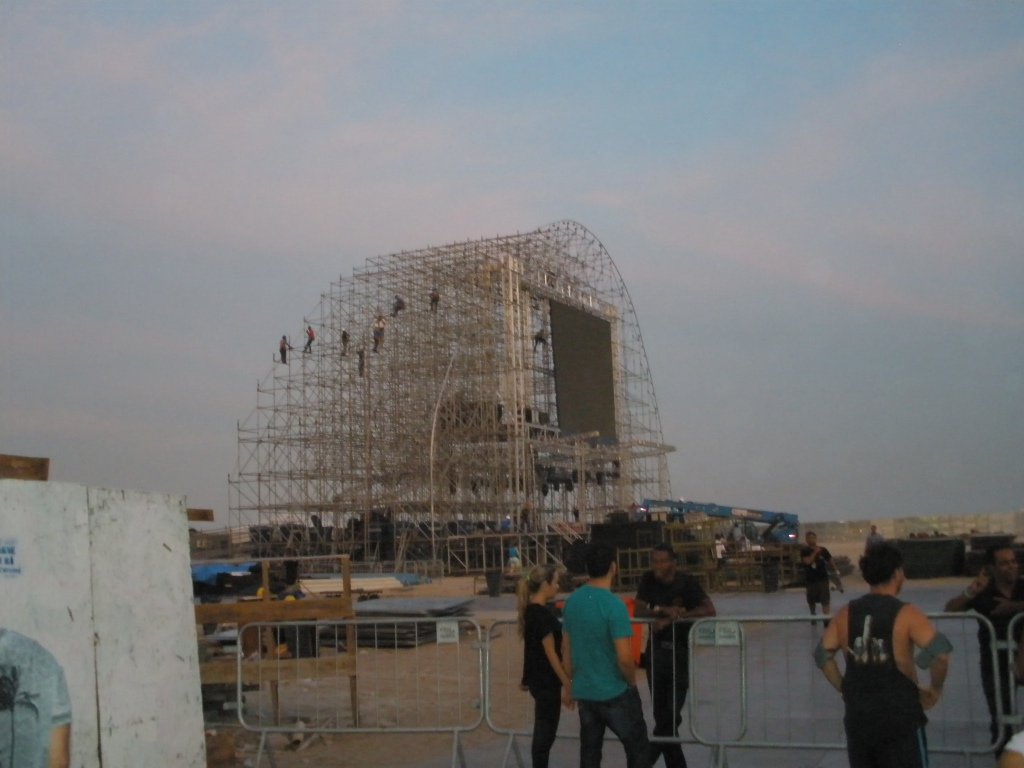 Construction work for the FIFA Fanfest zone at Copacabana beach